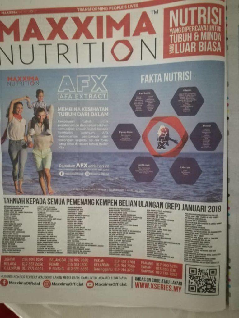 Maxxima Nutrition Di Harian Metro 24.2.19